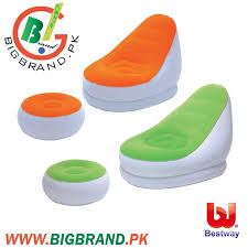 Inflatable Chair And Ottoman by Bestway Comfort Cruiser Inflatable Chair And Footrest