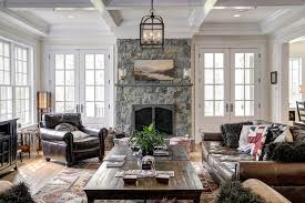 Splashy Lantern Chandelier Vogue Dc Metro Traditional Family Room - Family room leather furniture
