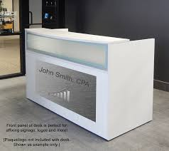 Reception Desk With Display White Reception Desk W Frosted Glass Panel