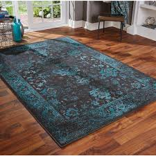 Teal Area Rug Distressed Traditional Overdyed Black Teal Area Rug
