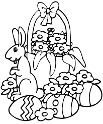 easter coloring page a bunny with eggs and flowers
