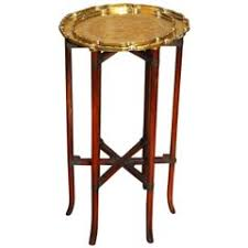 Drink Table Moroccan Incised Brass And Mahogany Folding Six Leg Tray Table For