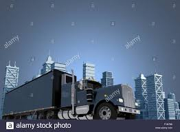 concept semi truck urban trucking concept illustration with copy space large semi