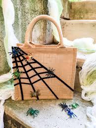 Halloween Luminary Bags Make by Easy No Sew Sticky Spiderweb Diy Halloween Treat Bag Merriment