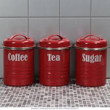 tea coffee sugar canister set red vintage style kitchen jars with