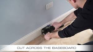 What Type Of Saw To Cut Laminate Flooring How To Flush Cut Baseboard With Dremel Us40 Ultra Saw Youtube