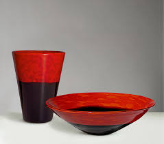 Red Glass Vases And Bowls Penccil Carlo Scarpa For Venini