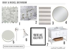 remodelaholic polished nickel gray bath with 10 and under polished traditional gray bathroom by postbox designs how to choose classic elements for bathroom fixtures