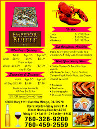 Super Buffet Hours by Emperor Buffet Rancho Mirage Ca 92270 Yellowbook