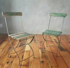 Metal Folding Bistro Chairs Vintage Folding Bistro Metal And Wood Slat