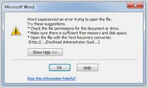 microsoft word help desk fixed word experienced an error trying to open the file error