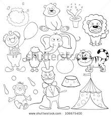 outlined cute cartoon circus elements coloring stock illustration