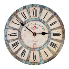 12 inch wooden wall clock vintage france paris tuscan style clock