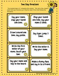following directions task cards literacy activities and parent board