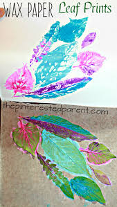 leaf nature prints on wax paper printmaking ideas for kids