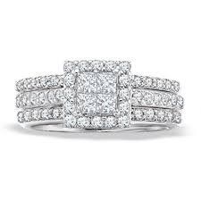 zales wedding rings zales 1 1 4 carat princess cut wedding set white gold