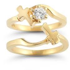wedding ring bridal set cross wedding ring bridal set in 14k yellow gold