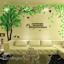 creative green tree and bird pattern acrylic 3d wall