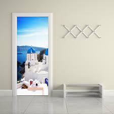 greek home decor funlife greek santorini modern style wall sticker removable door