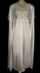 peignoir sets bridal vintage intime ivory peignoir set with beige lace trim http