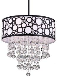 3 light crystal chandelier with bubble drum shade black