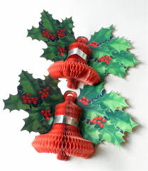 pair of vintage paper u0026 card honeycomb bell holly wall christmas