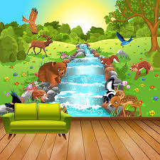 livingroom cartoon shinehome cartoon animal world by river custom wallpapers 3d kids