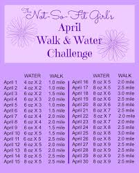 Water Challenge April Challenge Walk Water The Not So Fit S Guide To Fitness