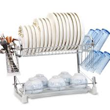 Kitchen Utensil Holder Ideas 9 Shaped Chrome Dish Drying Rack 2 Stainless Steel Tiers Kitchen