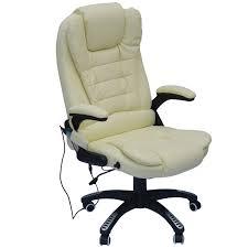 homcom pu leather office w massage function high back cream