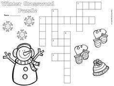 winter crossword puzzle worksheets for kids crossword puzzles