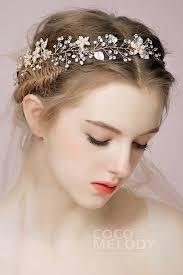wedding headbands alloy wedding headbands with imitation pearl flowers sah160012