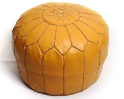 moroccan pouf mustard yellow leather pouf round ottoman foot