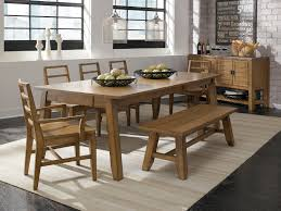 natural wood dining room tables natural lacquer oak wood dining table set with arm chairs and