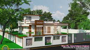 flat roofed small budget villa with stair room kerala home