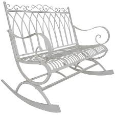 Garden Rocking Bench Titan Outdoor Metal Rocking Bench White Porch Patio Garden Seat
