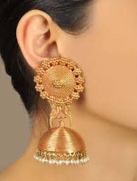 gold jhumka earrings buy pakshi temple gold jhumka earrings online at jaypore
