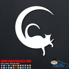 cat on the moon car truck decal sticker cat decals