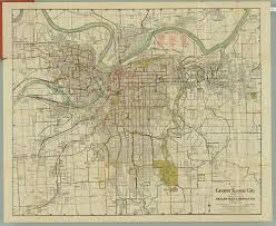 Vintage Map Gallup Greater Kansas City Missouri Street Car Lines Antique