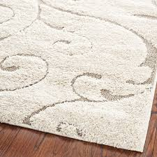 Area Rugs Beige 3 3 X 5 3 Shag Area Rug In Beige White With Scrolling Floral