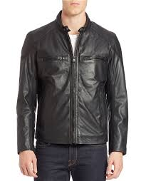 jacket moto andrew marc mac moto leather jacket in black for men lyst