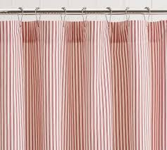 Navy And White Striped Shower Curtain Ticking Stripe Ruffle Shower Curtain Pottery Barn