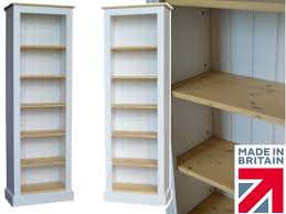 Narrow White Bookcase by White Painted U0026 Waxed Bookcase 6ft X 2ft Solid Wood Alcove