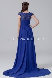 royal blue lace and chiffon bateau neck vintage long bridesmaid