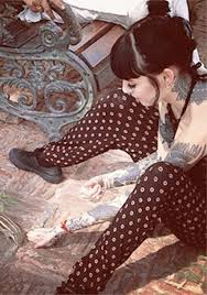 pajamas tattoo hannah pixie snowdon printed pants polka dots