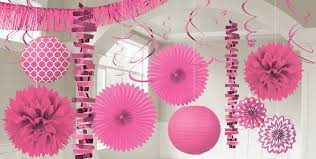 bright pink decorations bright pink balloons banners confetti