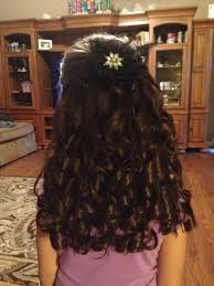 pageant style curling long hair little girls pageant hair lots of spiral curls tease on sides