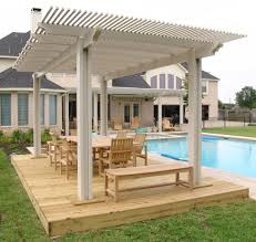 exteriors covered white wooden patio deck roof with unstained