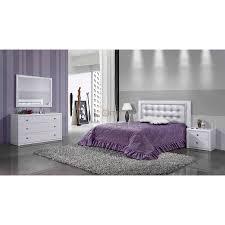 meuble chambre blanc laqué chambre adulte contemporaine laque blanc tête lit molletonnée
