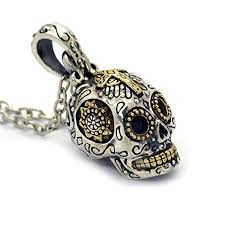 silver skull pendant necklace images Sterling silver sugar skull pendant necklace jpg